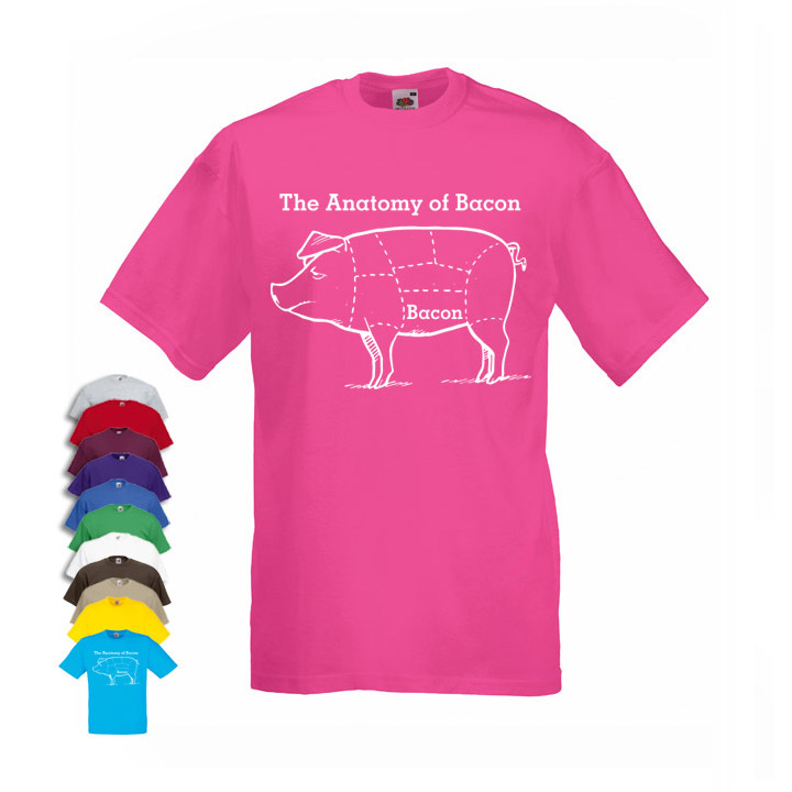 Anatomy Of Bacon Funny PIG Men\'s T-shirt - Cheap and Cheerful Clothing