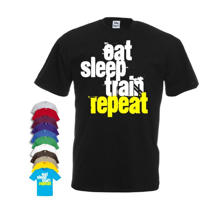 9f07f3549da Eat sleep train repeat Men s Gym T-shirt - Cheap and Cheerful Clothing