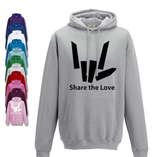 Kids Women Men/'s Share the Love Hoodie 80/% Cotton